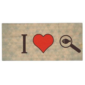 I Heart Magnifying Glasses Wood USB Flash Drive