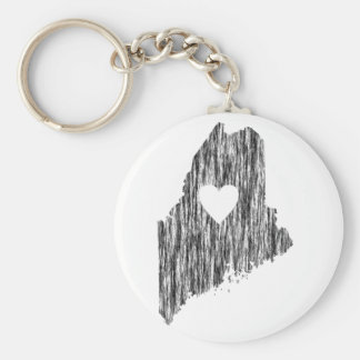 I Heart Maine Grunge Look Outline State Love Keychain