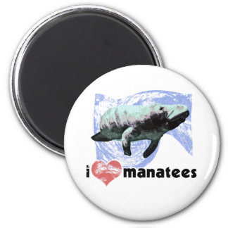 I Heart Manatees 2 Inch Round Magnet