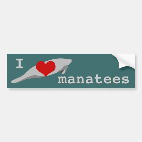 I heart Manatees bumper sticker