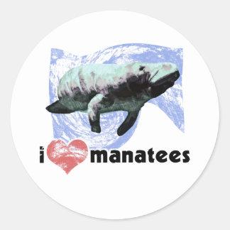 I Heart Manatees Classic Round Sticker
