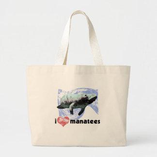 I Heart Manatees Jumbo Tote Bag
