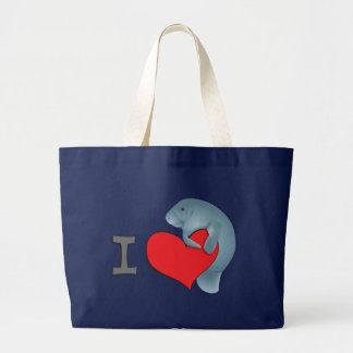 I heart manatees large tote bag