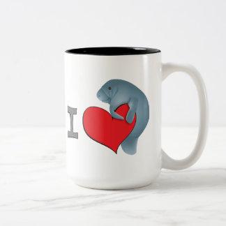 I heart manatees Two-Tone coffee mug