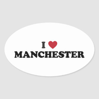 I Heart Manchester England Oval Stickers