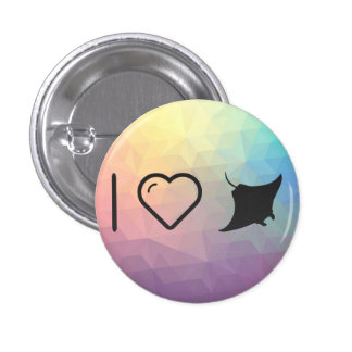 I Heart Mantas 1 Inch Round Button