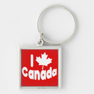I Heart Maple Leaf Canada White on Red Silver-Colored Square Keychain