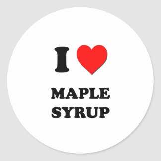 I Heart Maple Syrup Classic Round Sticker