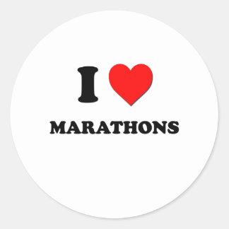 I Heart Marathons Round Sticker
