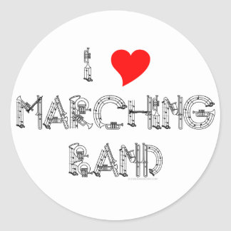 I Heart Marching Band Classic Round Sticker