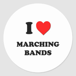 I Heart Marching Bands Round Stickers