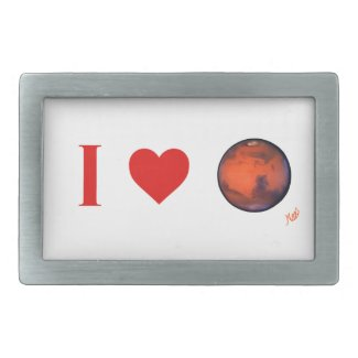 I Heart Mars Silver Buckle