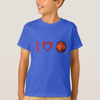 I Heart Mars Tagless Comfort-Soft T-Shirt for Kids