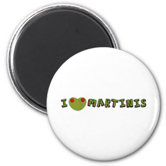 I heart martinis 2 inch round magnet