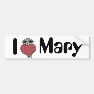 I Heart Mary Alien Car Bumper Sticker