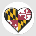 I Heart Maryland Decal (set of 6) Round Stickers