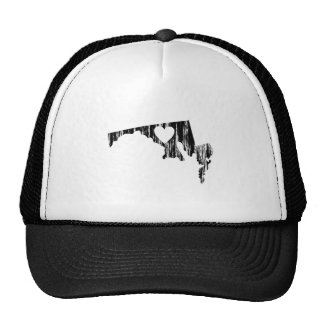I Heart Maryland Grunge Look Outline State Love Trucker Hat