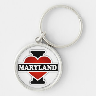 I Heart Maryland Silver-Colored Round Keychain