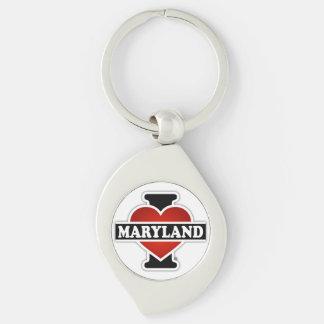 I Heart Maryland Silver-Colored Swirl Metal Keychain