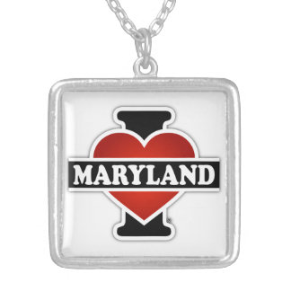 I Heart Maryland Silver Plated Necklace