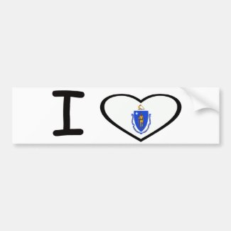 I heart Massachusetts Bumper Sticker