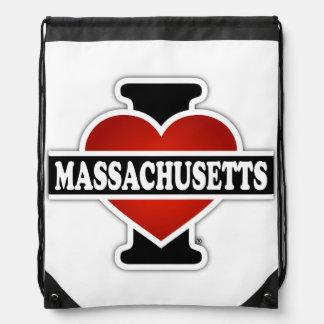 I Heart Massachusetts Drawstring Bag
