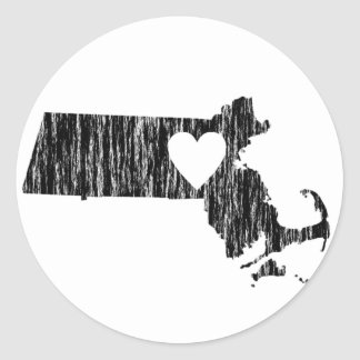 I Heart Massachusetts Grunge Outline State Love Classic Round Sticker