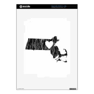 I Heart Massachusetts Grunge Outline State Love Skin For iPad 2