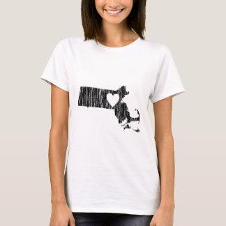 I Heart Massachusetts Grunge Outline State Love T-Shirt