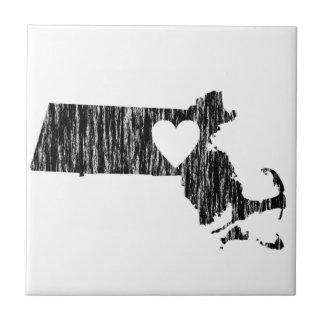 I Heart Massachusetts Grunge Outline State Love Tile