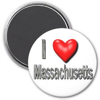 I Heart Massachusetts 3 Inch Round Magnet