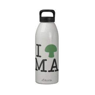 I HEART Massachusetts - Solid Green Magic Mushroom Water Bottle