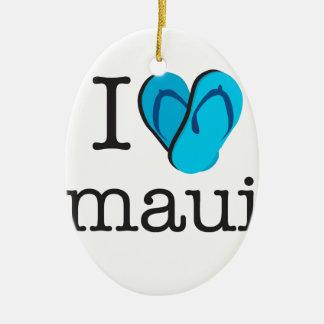 I Heart Maui Flip Flops Ceramic Ornament