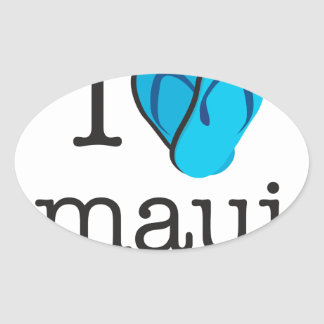 I Heart Maui Flip Flops Oval Sticker