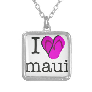 I Heart Maui Flip Flops Silver Plated Necklace