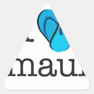 I Heart Maui Flip Flops Triangle Sticker