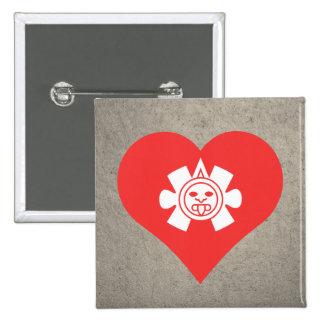I Heart Mayan Symbols Icon 2 Inch Square Button