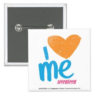 I Heart Me Orange/Aqua Button