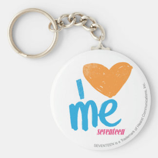 I Heart Me Orange/Aqua Keychain