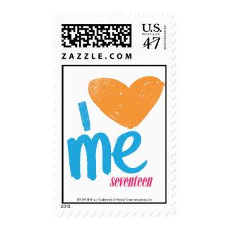 I Heart Me Orange-Aqua Postage Stamp
