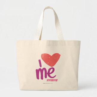 I Heart Me Pink/Purple Large Tote Bag