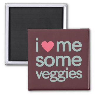 I Heart Me Some Veggies 2 Inch Square Magnet