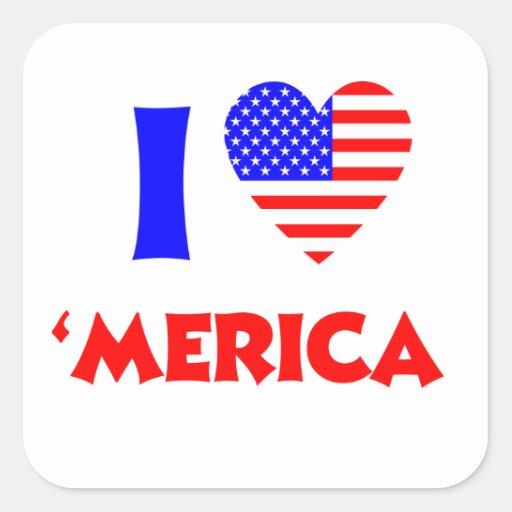 I heart merica square sticker