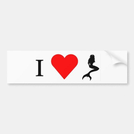 I Heart Mermaids Bumper Sticker