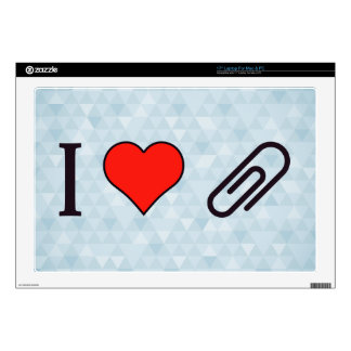 "I Heart Metal Paper Clips 17"" Laptop Skin"