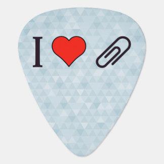 I Heart Metal Paper Clips Guitar Pick