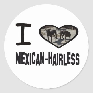I heart Mexican-Hairless Classic Round Sticker