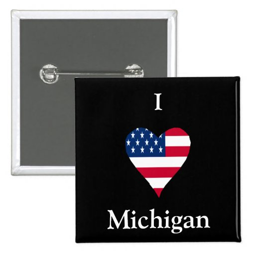 I Heart Michigan Button With American Flag