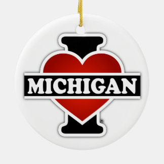I Heart Michigan Double-Sided Ceramic Round Christmas Ornament
