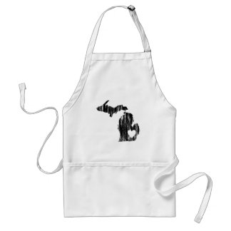 I Heart Michigan Grunge Worn Outline State Love Adult Apron